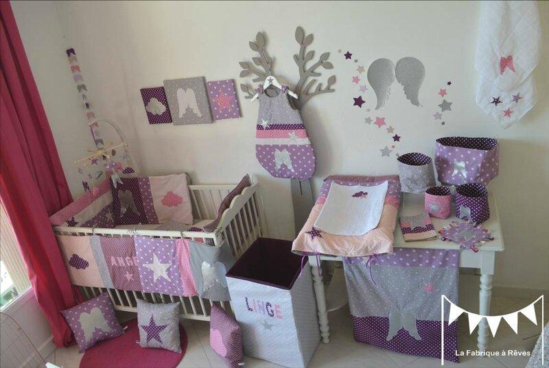 Décoration Chambre Bébé Fille Mauve Violet Parme Rose Argent 5