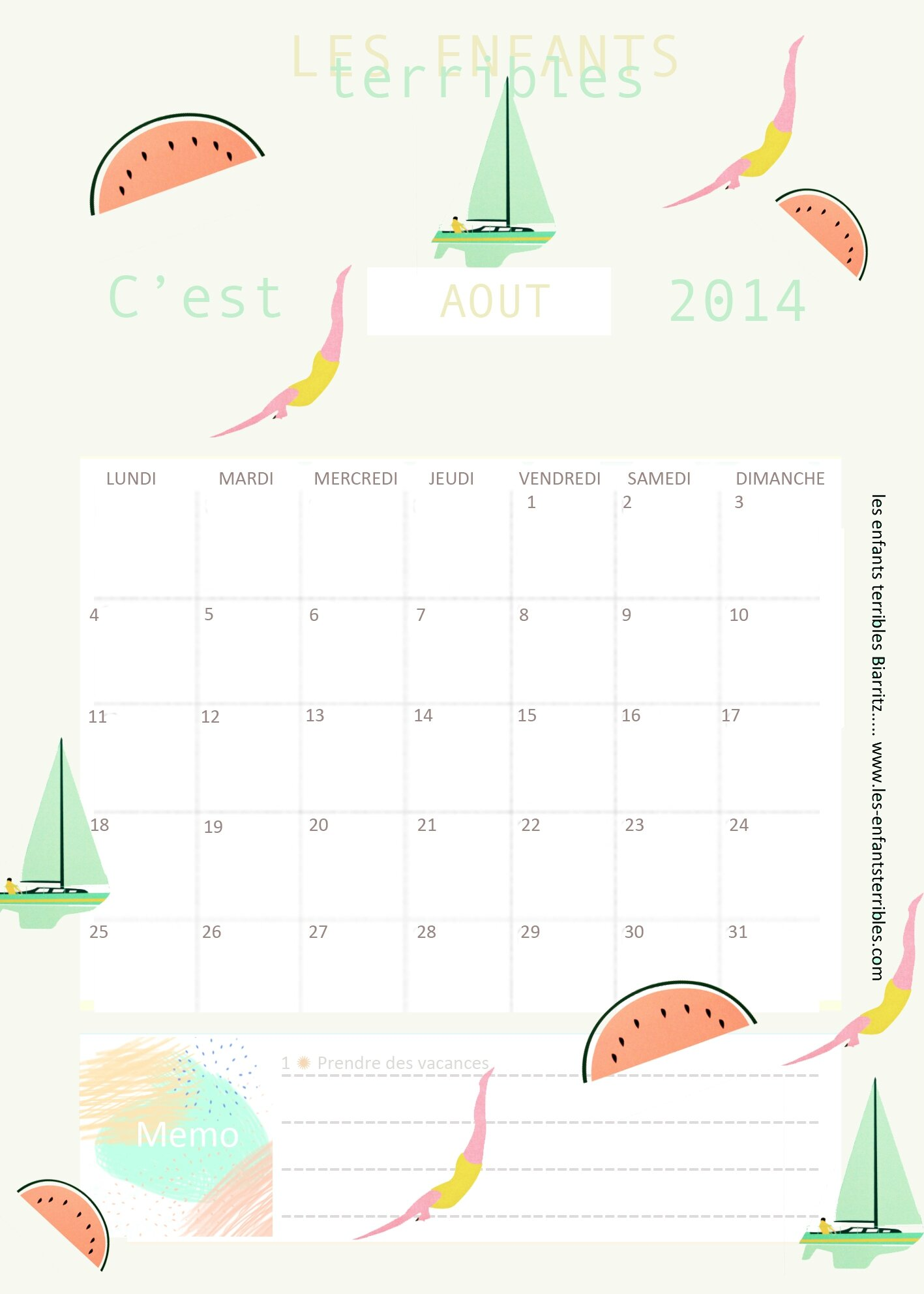 calendriers aout