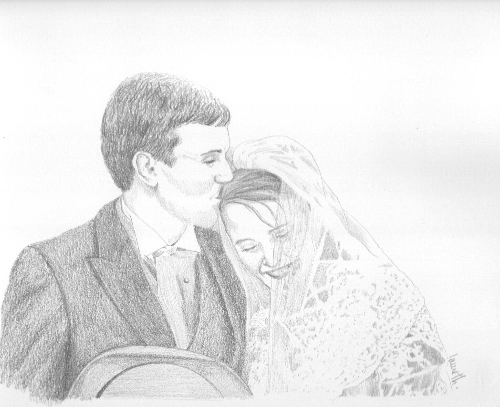 portrait mariés au crayon graphite