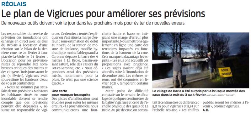 2021 02 26 SO Réolais Le plan de Vigicrues pour améliorer ses prévisions