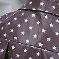 Ciré AGLAE en coton enduit parme surané imprimé d'étoiles blanches fermé par 2 pressions cachés sous 2 boutons recouverts dans le même tissu (1)