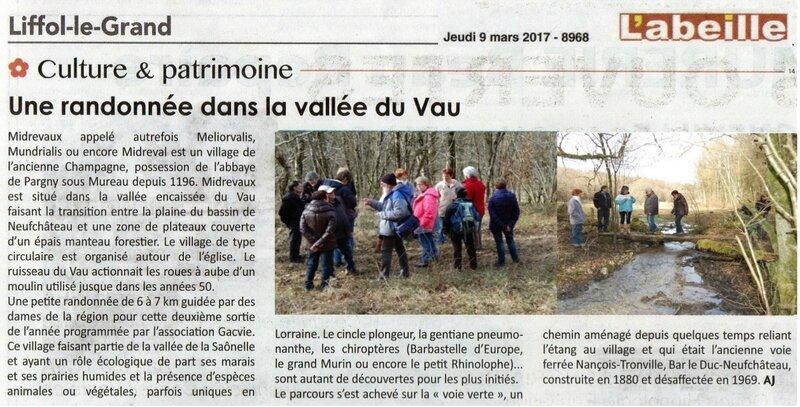 Article du 9 mars 2017 - randonnee dans la vallee du Vau
