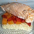 Saumon sauce gorgonzola , carotte , poivrons et riz ( recette cook'in)