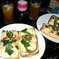 Bruschetta géante tomate-mozzarella