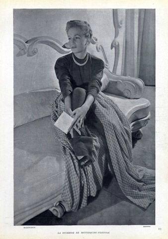 Duchesse de Montesquiou-Fezensac en Balenciaga Couture, 1946