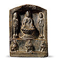 A fine greystone buddhist votive stele, sui or tang dynasty, 7th century
