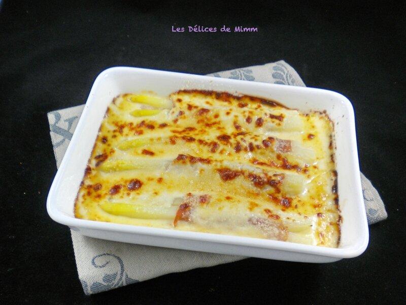 Asperges blanches gratinées au parmesan et jambon de Parme 2