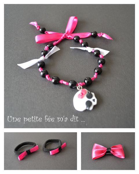 monsterhigh_bracelet_fimo_barrette_élastique_rose_noir_draculaura