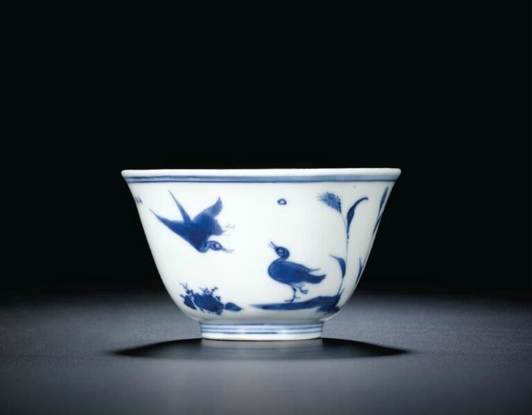 A fine blue and white 'Ducks in a pond' cup, mark and period of Jiajing (1522-1566)
