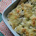 Gratin au brocoli et au cabillaud, sauce moutardée