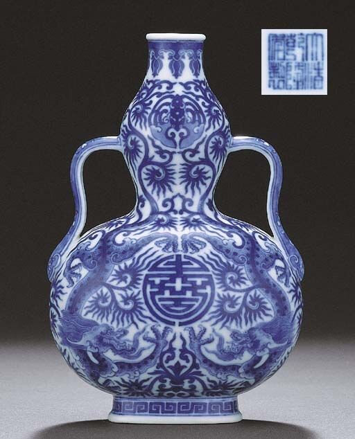 A fine blue and white double-gourd 'Dragon' vase, Qianlong six-character sealmark and of the period (1736- 1795)