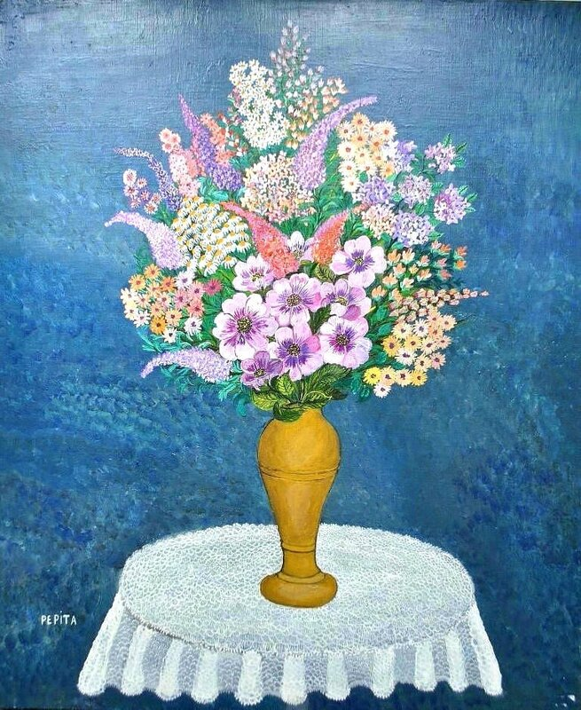 PEPITA Bouquet au fond bleu 65 x 54