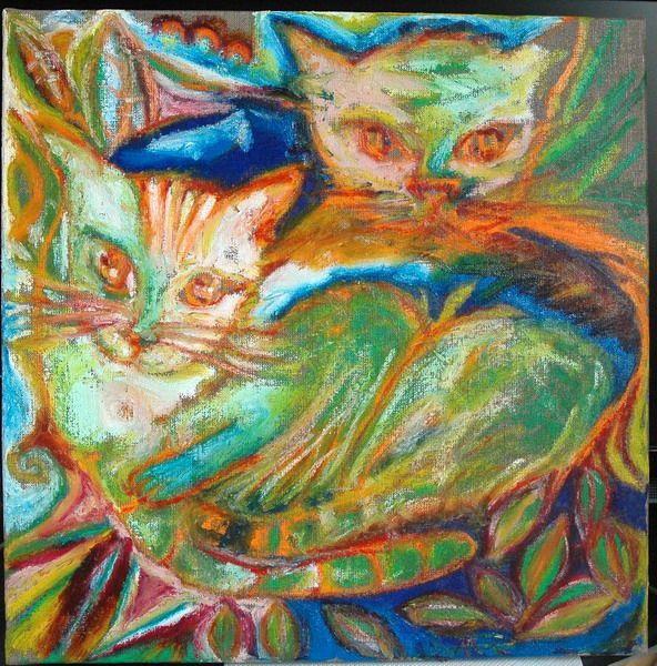 Chats aux coussins