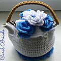 Tea cosy blue flowers 8
