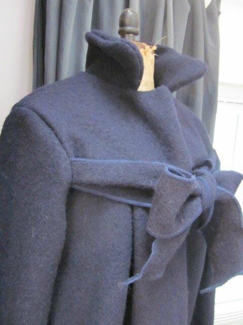 Manteau AGLAE en laine bouillie marine (6)