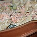 Salade de penne, saumon et concombre