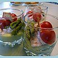 Verrine d'asperges et saumon fumé