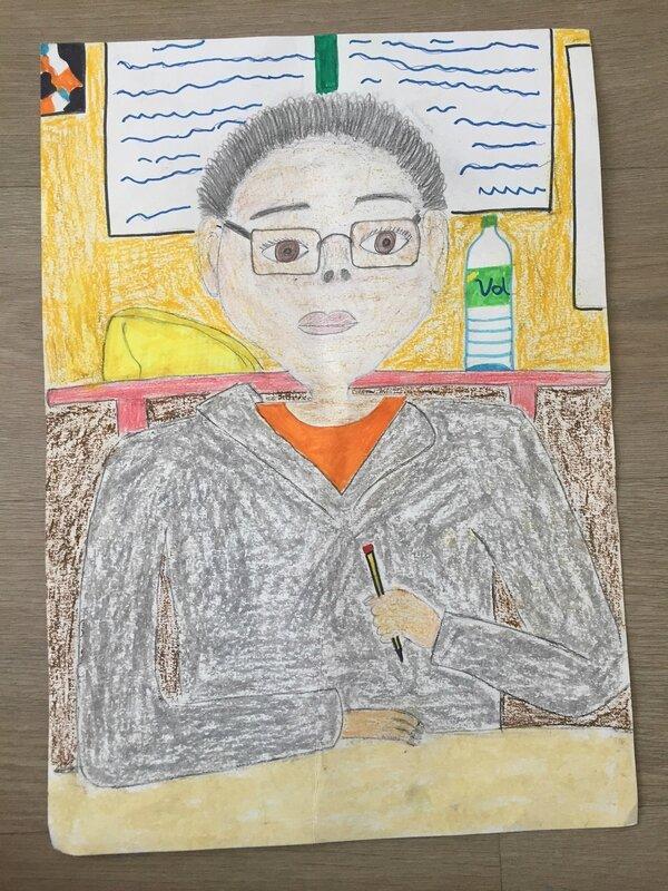 portrait-enfant-enfants-collège-technique-mixte-dessiner-dessin-activité-arts-plastiques