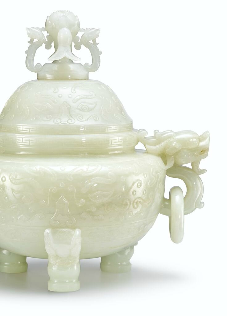 A large white jade tripod incense burner and cover, Qing dynasty, Qianlong period2