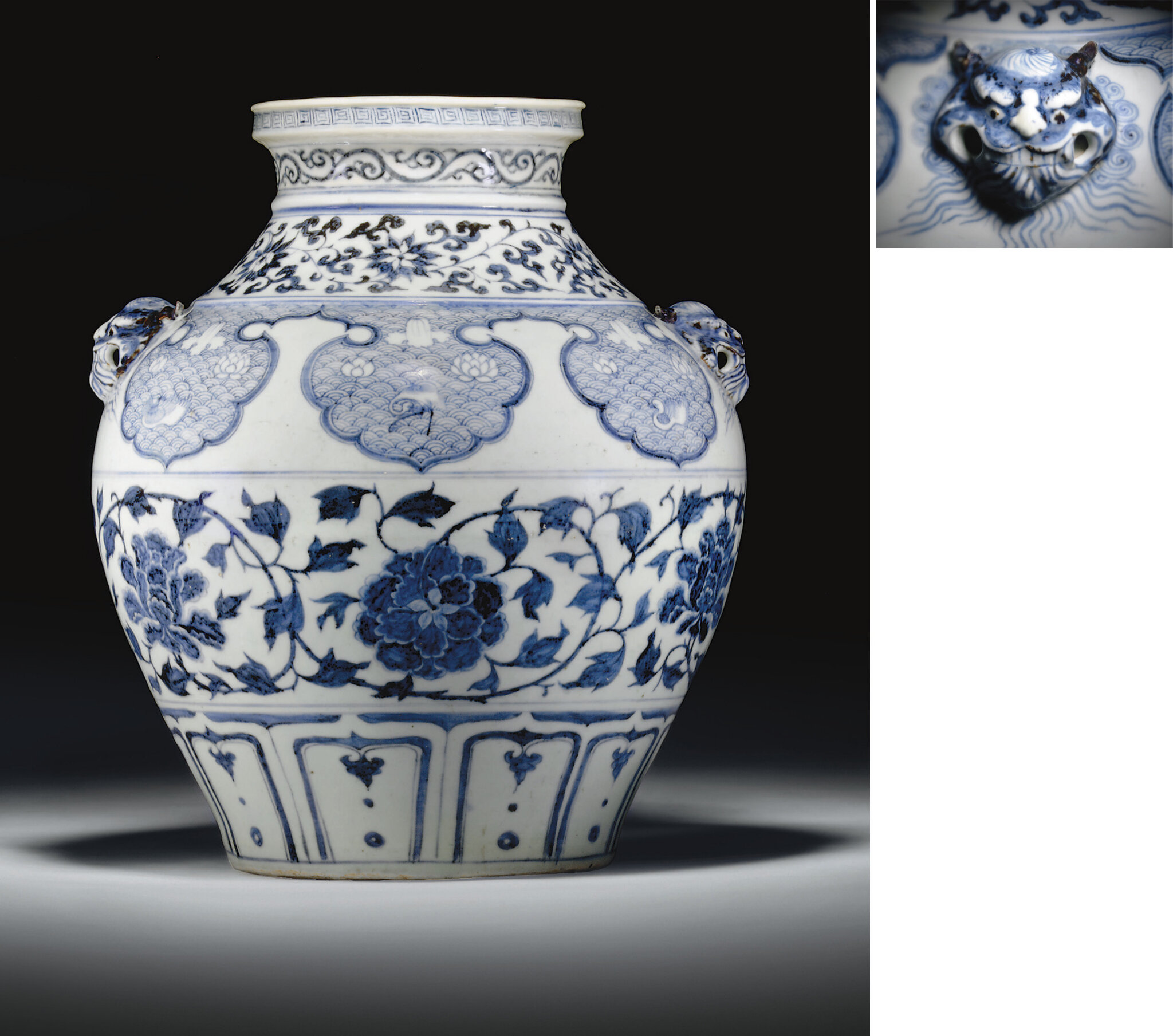 A rare large blue and white jar, guan, Yuan dynasty (1279-1368)