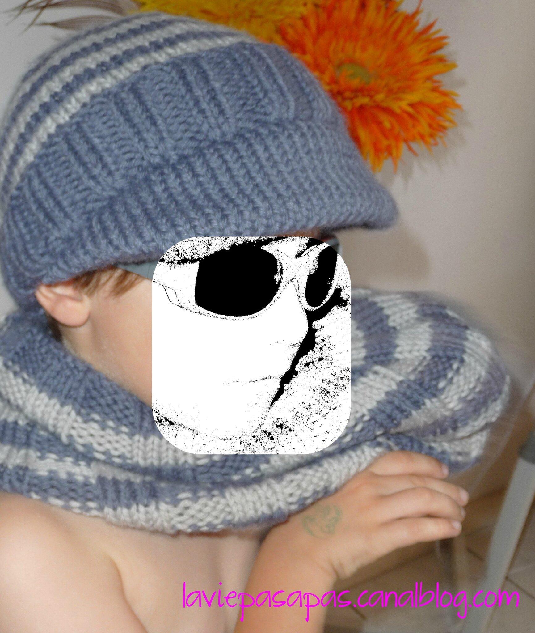 >> Casquette-bonnet et col assorti, modèle Phildar