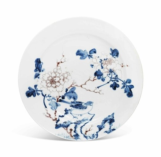 A blue and white and copper-red 'Bird and Peony' plate, Kangxi period (1662-1722)