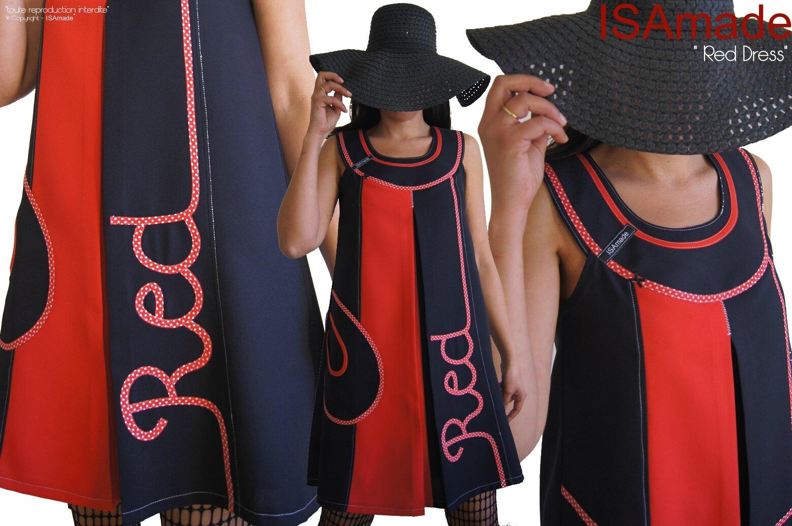 MOD 387A Robe trapèze Chasuble Noir Rouge Graphique Pois Géométrique Pop Art