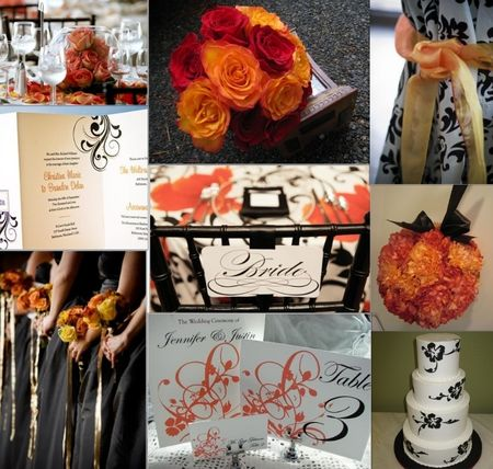 wedding_inspirationboard_orange_and_damask_bw