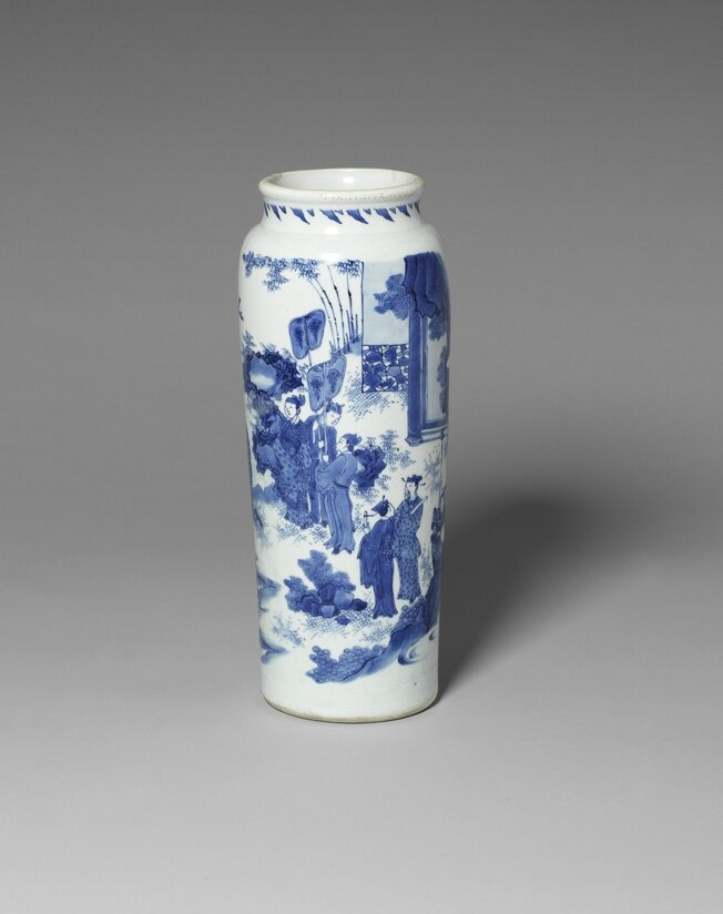 A blue and white sleeve vase, China, Transitional Period, mid 17th century. Photo courtesy Bonhams, Knightsbridge.