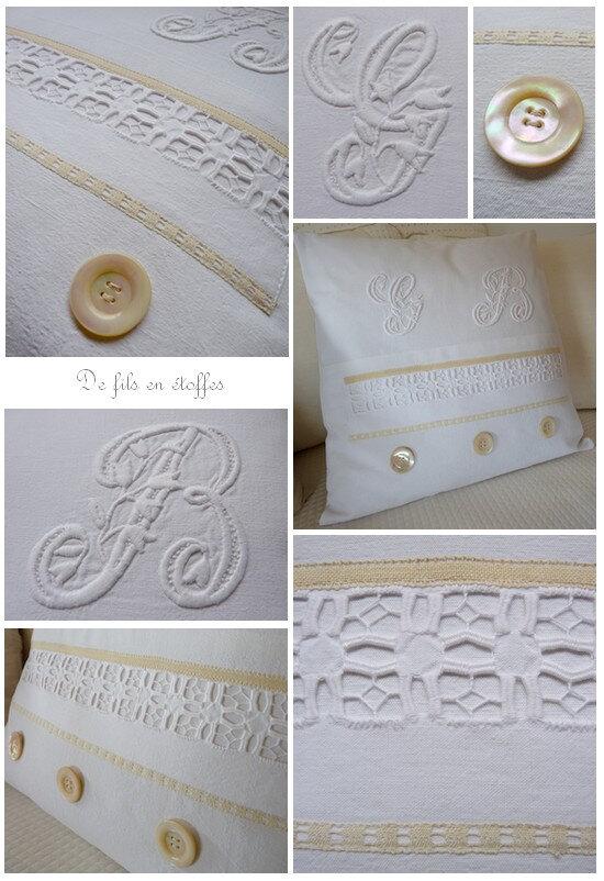 Coussin blanc aux monogrammes détails