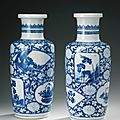A pair of blue and white rouleau vases, qing dynasty, kangxi period