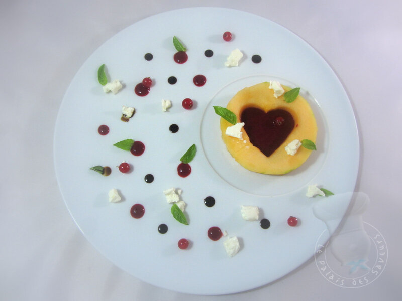 Coeur de melon, fruits rouges, féta