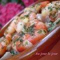 Crevettes et poissons marinés