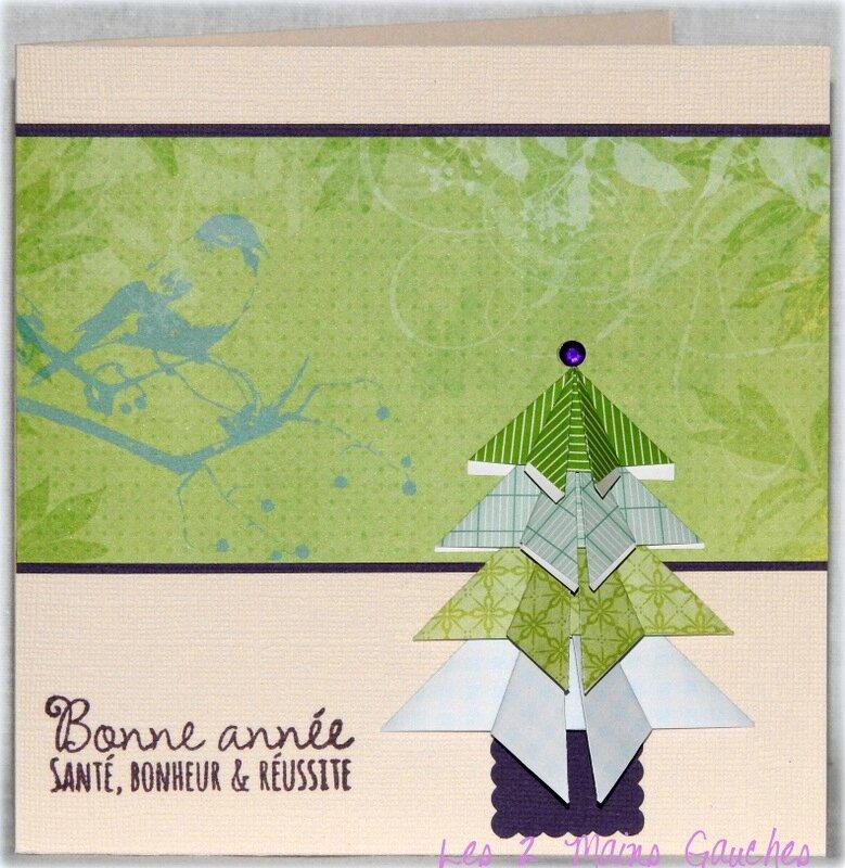 carte de voeux vert et violet avec sapin en origami
