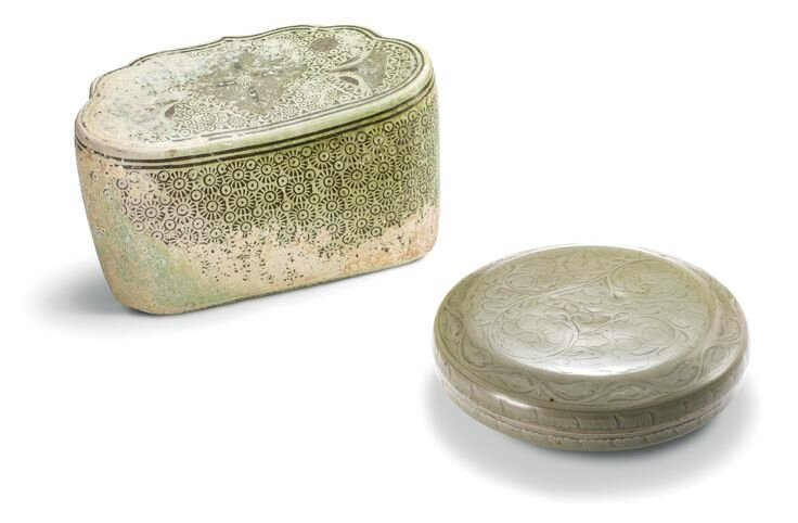 A 'marbled' pillow, Five Dynasties and a 'Yaozhou' celadon box and cover, Song dynasty