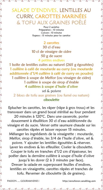 Salade d'endives, lentilles au curry, carottes marinées & tofu aux graines poêlé_fiche