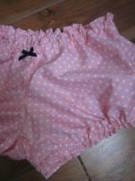 Culotte BIANCA en coton rose parsemé d'étoiles - noeud gros-grain marine (1)