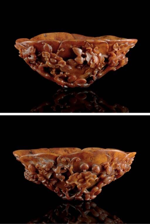 A_rhinoceros_horn_flower_form_libation_cup__18th_century