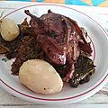 Cailles farcies au foie gras et émincé de chou kale aux pommes de terre