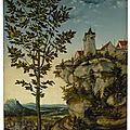 Lucas cranach the elder, landscape with fortified buildings on a rocky bluff, a tree in the left foreground and a distant view..