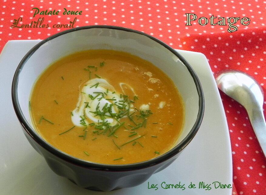 Potage à la patate douce et à la cannelle, sans gluten et sans lactose