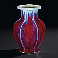 A flambé-glazed 'pomegranate' vase, qianlong incised six-character seal mark and of the period (1736-1795)