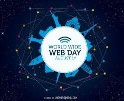 Poster celebrating World Wide Web day. Design features many ...