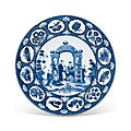 A blue and white 'pronk arbor' plate, qianlong period, circa 1738