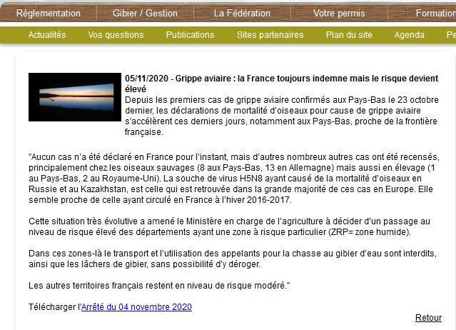 Screenshot_2020-11-06 Grippe aviaire la France toujours indemne mais le risque devient élevé - actualites - Fédération des [