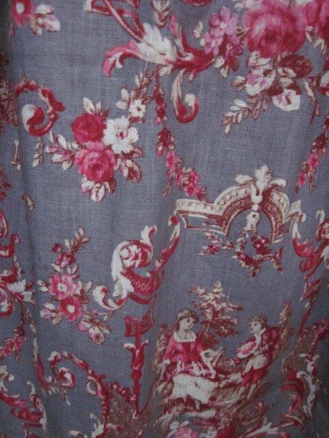 Manteau AGLAE en lin gris imprimé toile de Jouy Pastorale rouge (1)