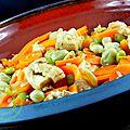 tajine de poulet aux edamamés et aux fèves
