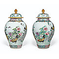 A pair of famille-rose baluster jars and covers, yongzheng period (1723-1735)