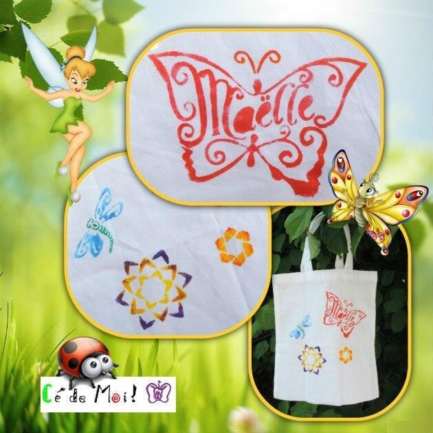 17-06-12 peinture textile sur sac Maëlle avec les filles - défi Sacs en vrac un mois,une créa et +