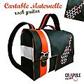 Cartable matenrnelle rock guitar garçon fille simili cuir vintage